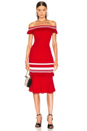 JONATHAN SIMKHAI For FWRD Off The Shoulder Knit Red / White Dress