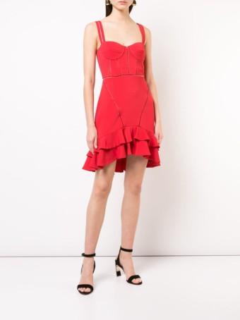 JONATHAN SIMKHAI Ruffle-Trim Flared Red Dress