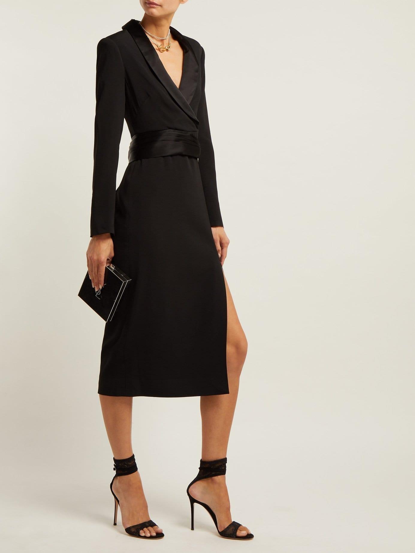 JONATHAN SIMKHAI Tuxedo-style Crepe Black Dress