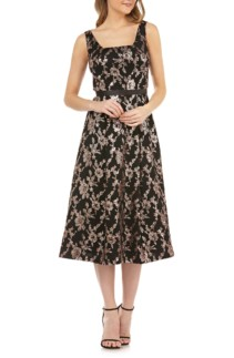 KAY UNGER Sleeveless Sequin Mesh Tea Length Black / Rose Gold Dress