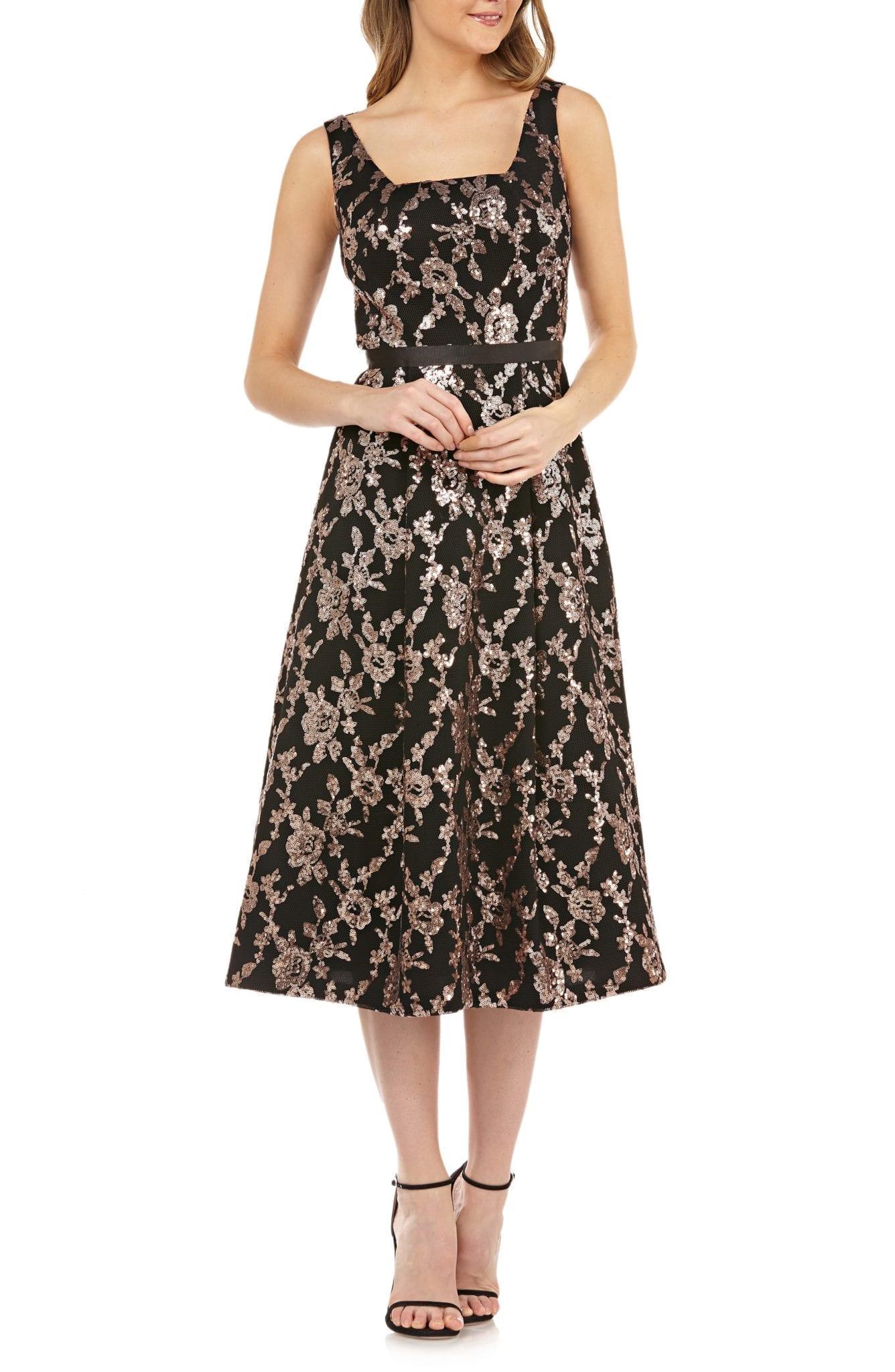 KAY UNGER Sleeveless Sequin Mesh Tea Length Black / Rose Gold Dress