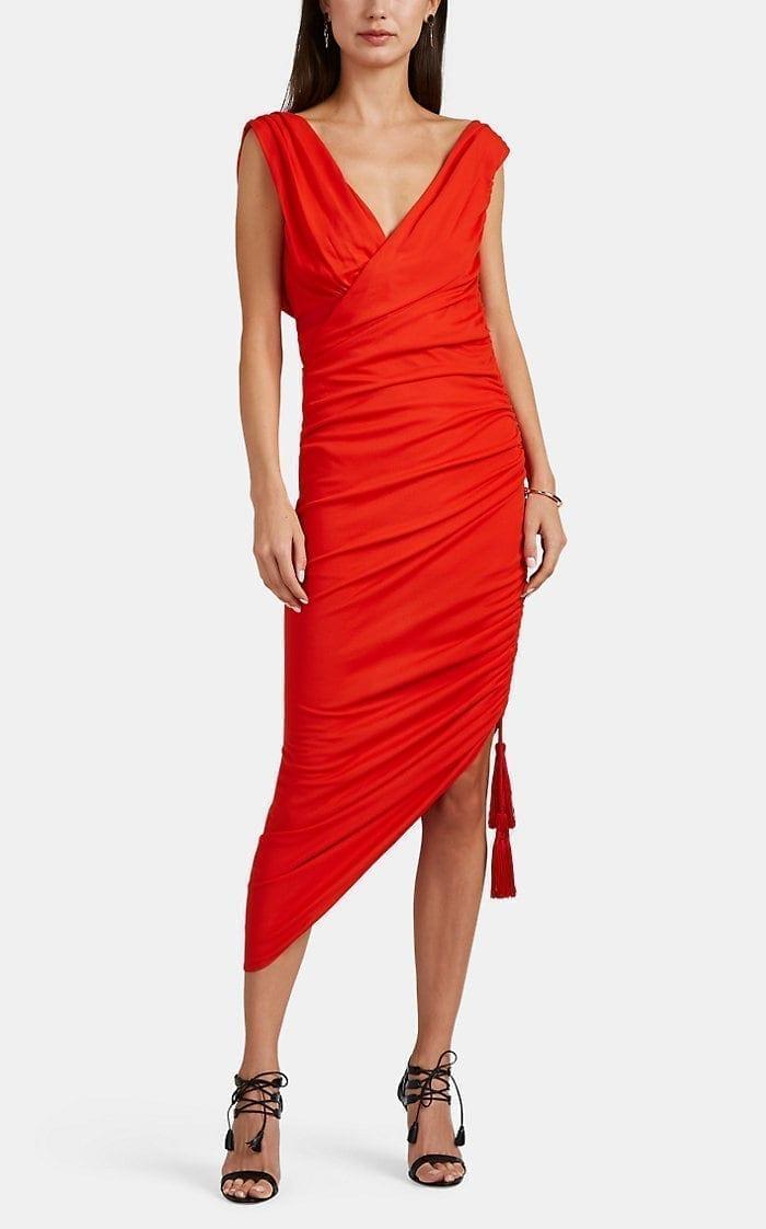 Lanvin Orange Ruched Dress