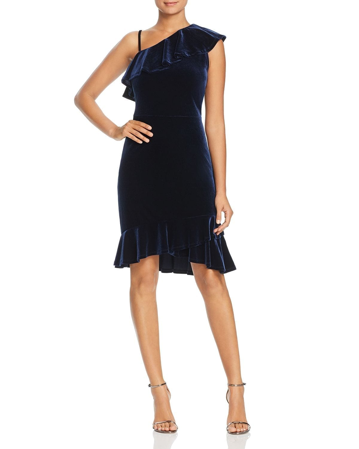 LEOTA Tereza Velvet One-Shoulder Navy Dress