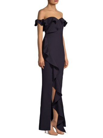 LIKELY Miller Off-The-Shoulder Ruffled Navy Gown