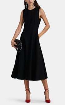 LISA PERRY Wow Wool Crepe Fit & Flare Black Dress
