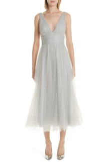 MARCHESA NOTTE Glitter Tulle Tea Length Silver Dress
