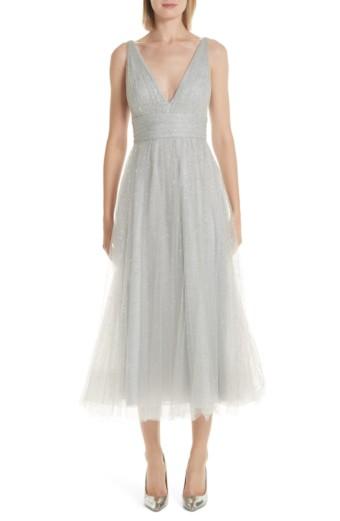 MARCHESA NOTTE Glitter Tulle Tea Length Silver Dress