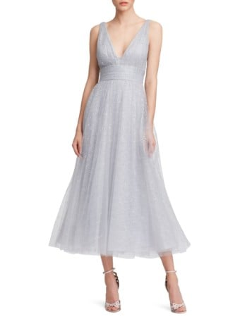 MARCHESA NOTTE Glitter Tulle V-Neck Empire Waist A-Line Silver Dress