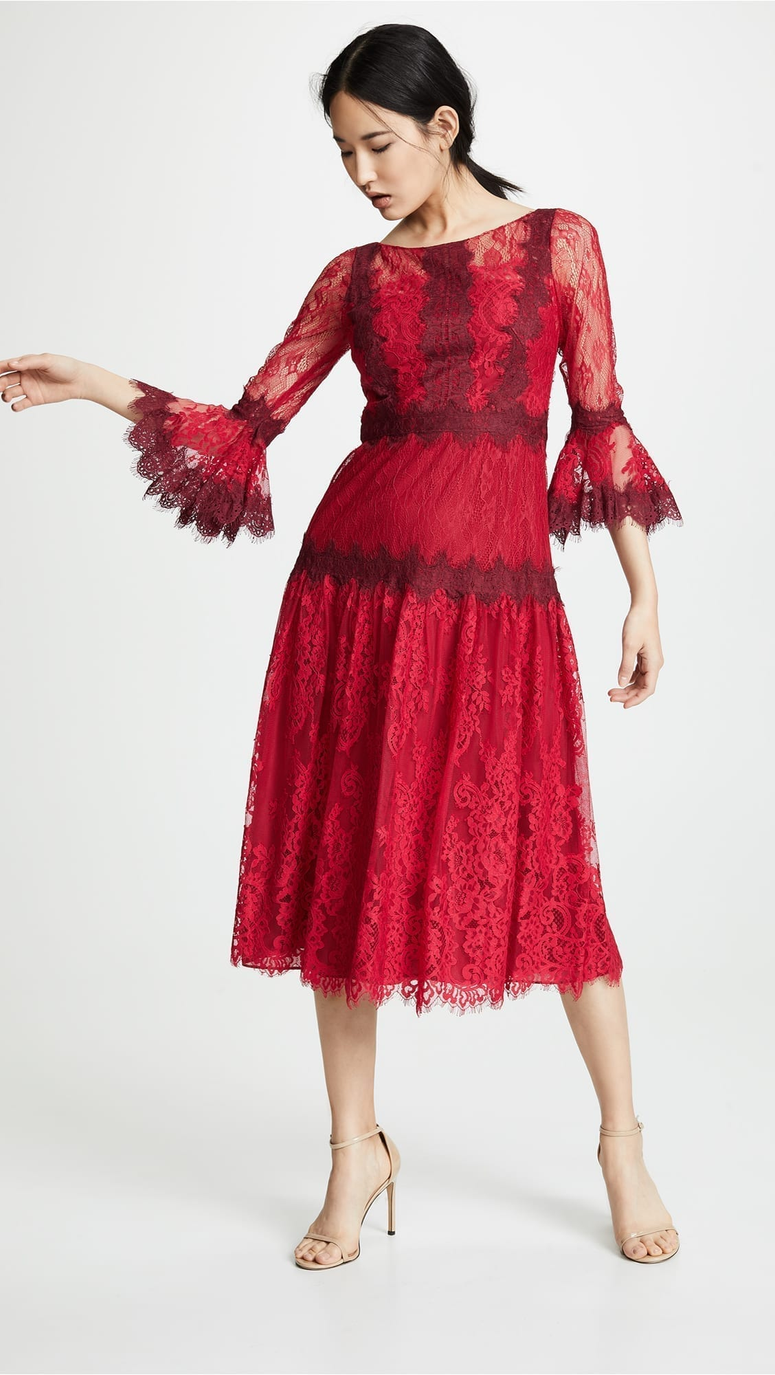 MARCHESA NOTTE Mixed Lace Tea Length Cocktail Red Dress