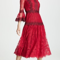 10f730cecac MARCHESA NOTTE Mixed Lace Tea Length Cocktail Red Dress - We Select ...