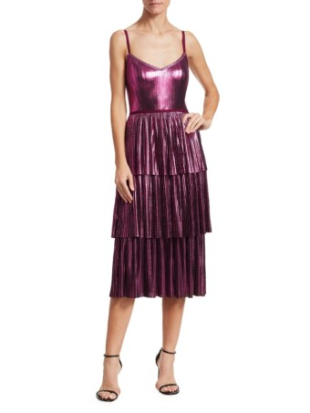 MARCHESA NOTTE Pleated Tiered Metallic Midi Lilac Dress