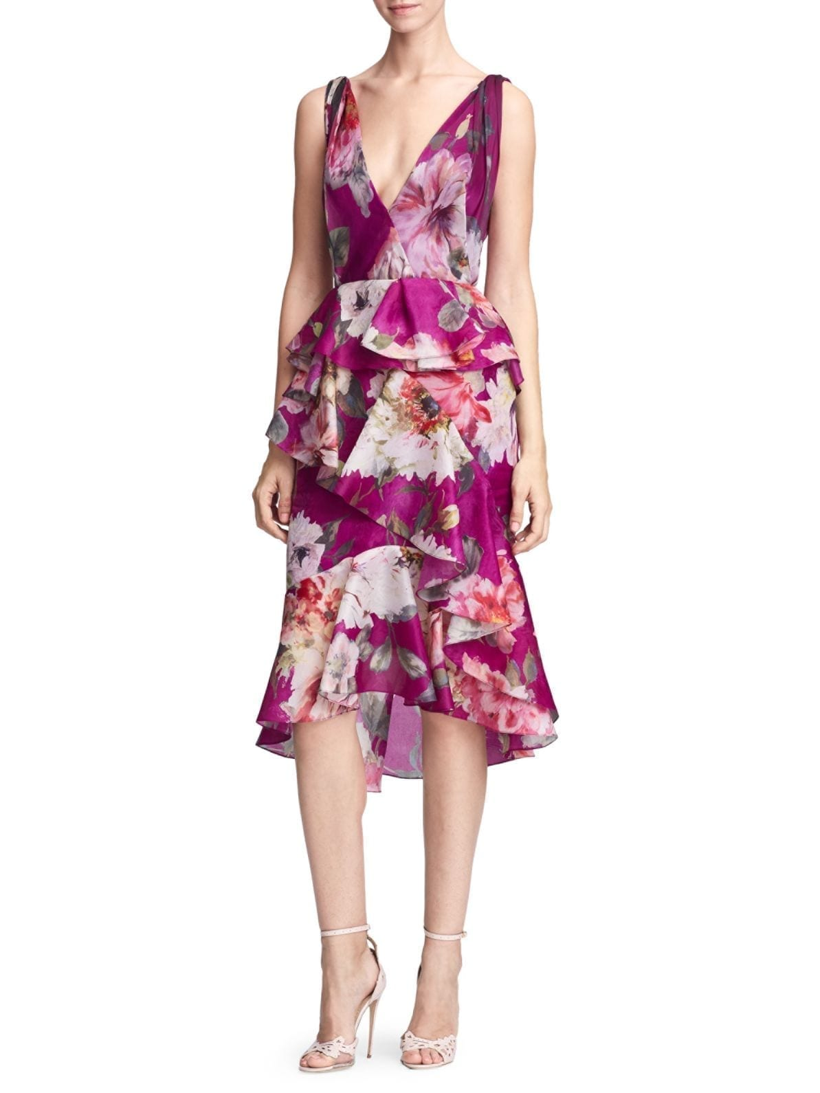 MARCHESA Silk Organza Ruffle Orchid Dress