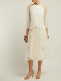 MARIA LUCIA HOHAN Pleated Tulle Cape White Dress