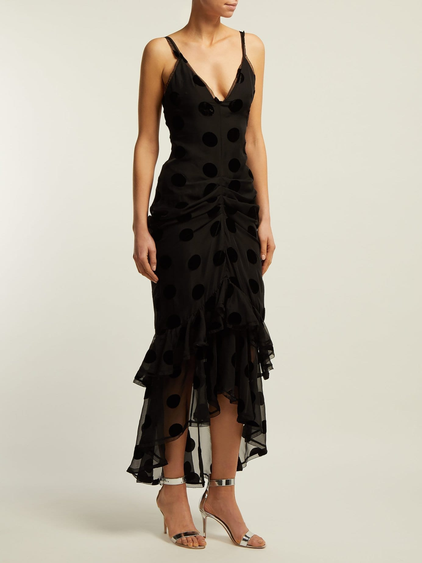 MARIA LUCIA HOHAN Skylar Polka-dot Ruched Black Dress