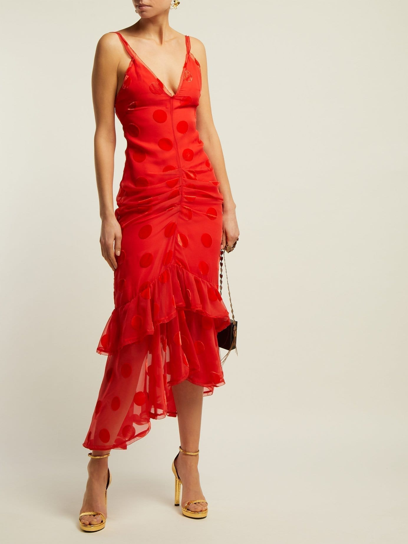 MARIA LUCIA HOHAN Skylar Ruffled Polka-dot Tulle Mid Red Dress