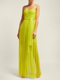 MARIA LUCIA HOHAN Tiara Pleated Bustier Green Gown