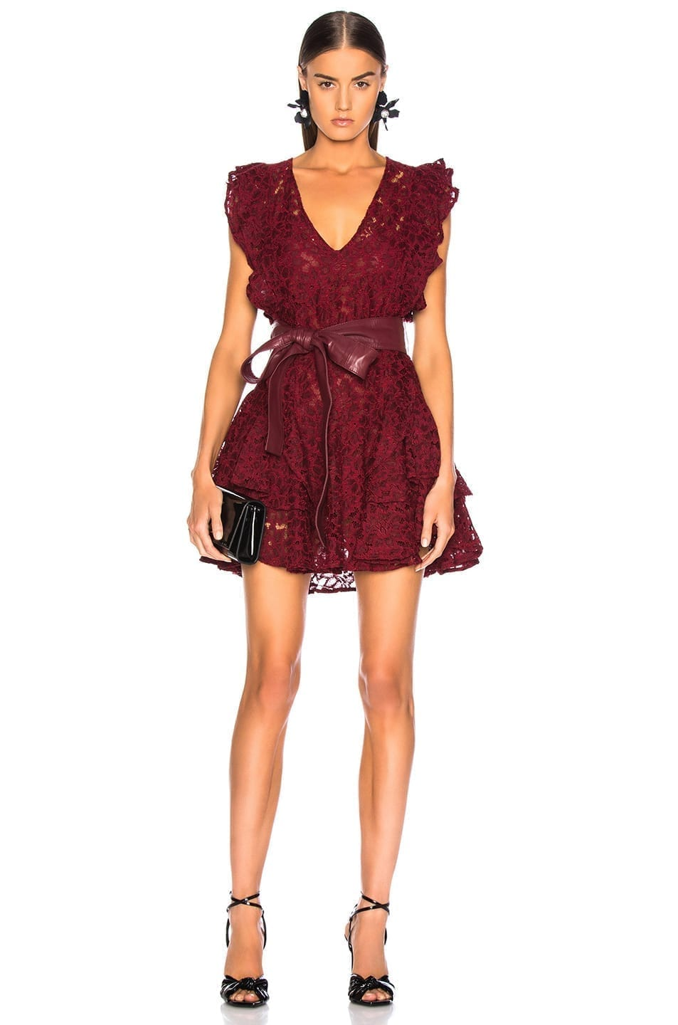 MARISSA WEBB Corrine Lace & Leather Ruby Dress