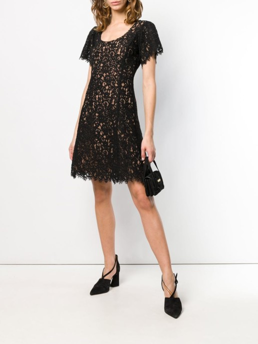 MICHAEL MICHAEL KORS Shortsleeved Lace Black Dress