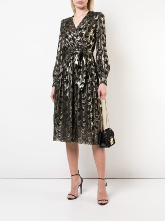 MILLY Embroidered Wrap Black / Silver Dress