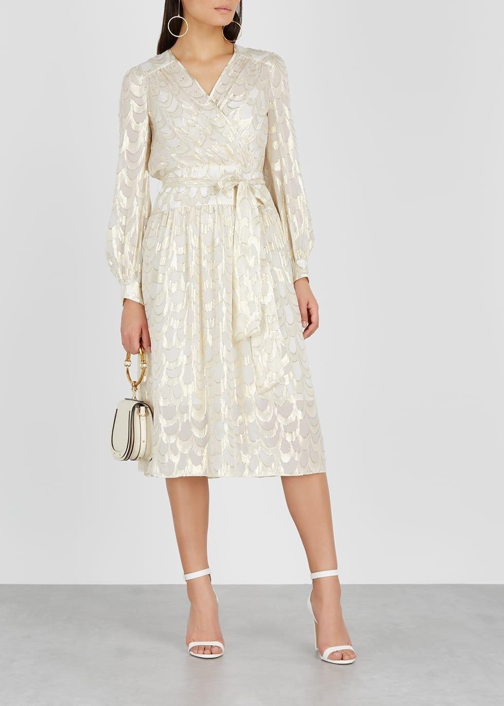 MILLY Katy Fil Coupé Silk-blend Ivory Dress