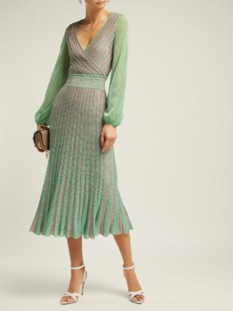 MISSONI Metallic Striped Wrap Green Dress