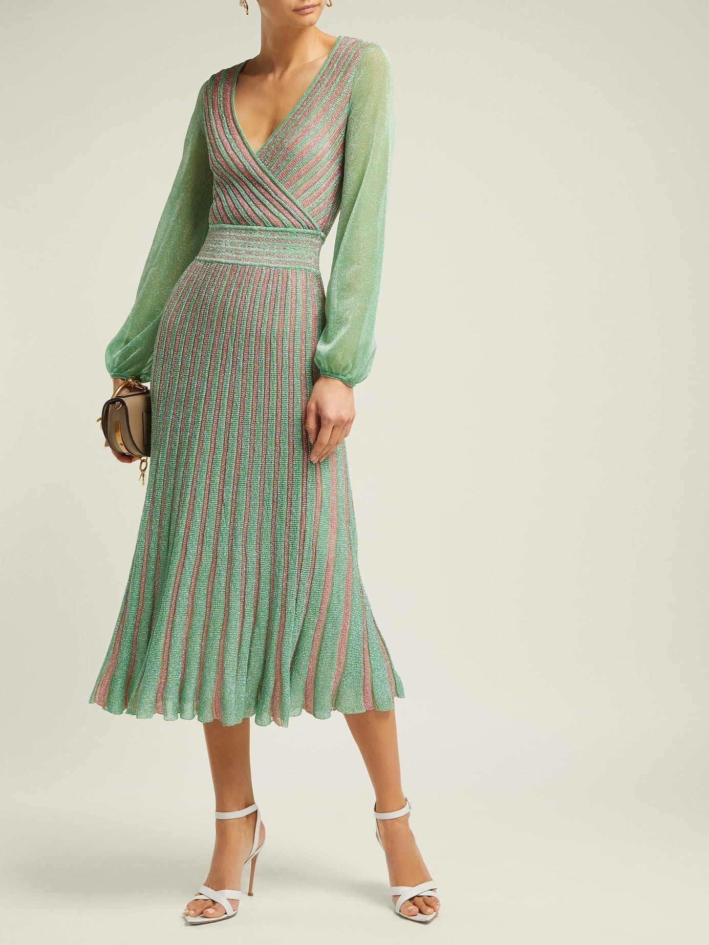 MISSONI Metallic Striped Wrap Green Dress