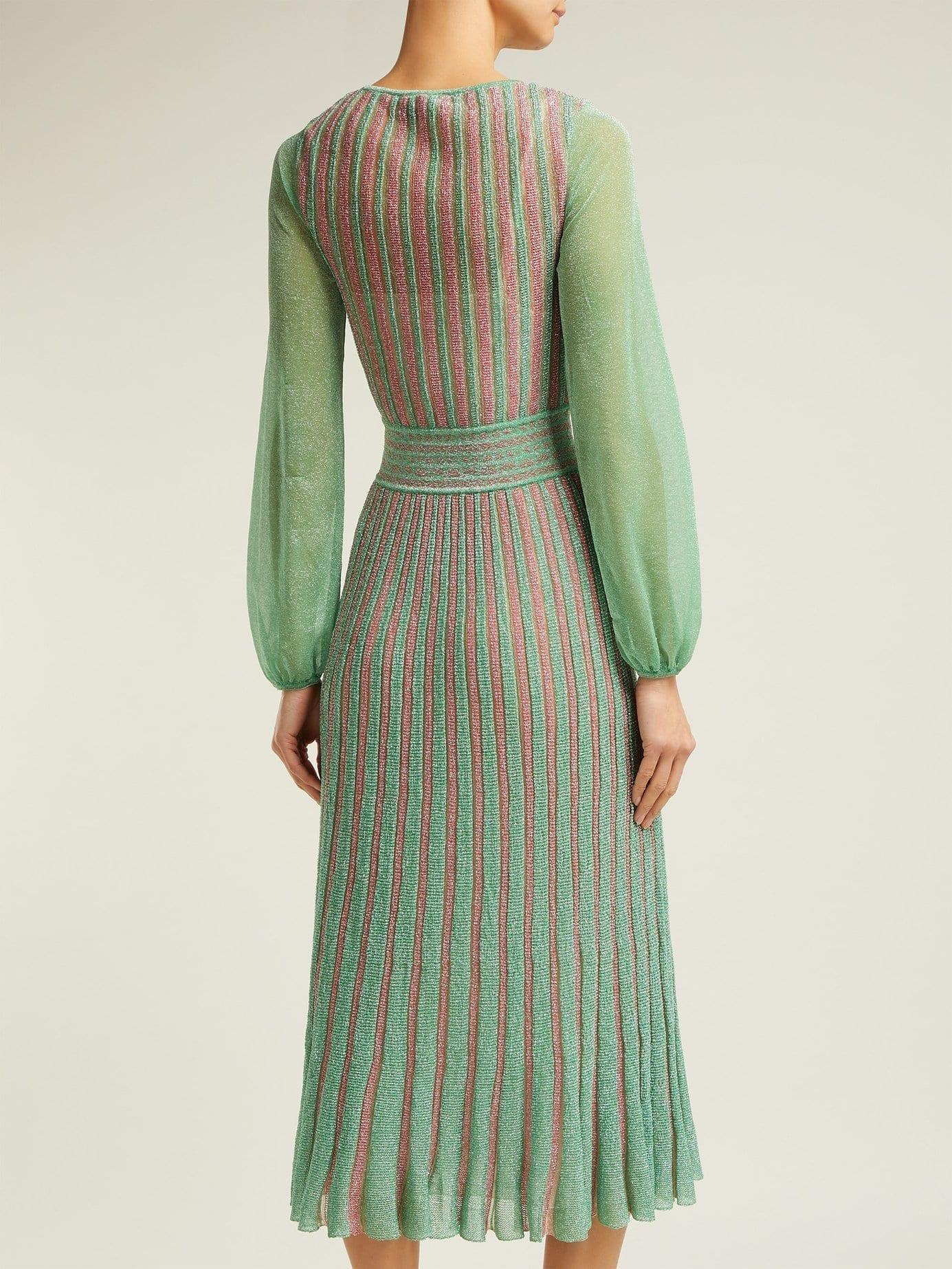 9d80866697f MISSONI Metallic Striped Wrap Green Dress - We Select Dresses