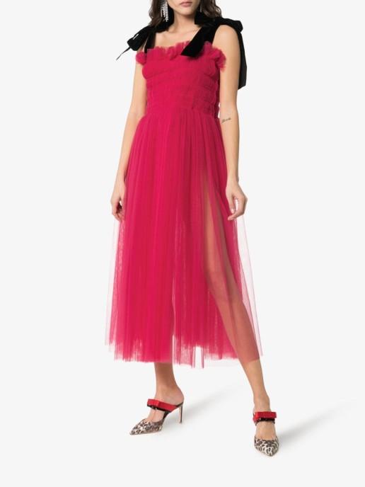 MOLLY GODDARD X Browns Claudia Sleeveless Velvet Strap Midi Pink Dress