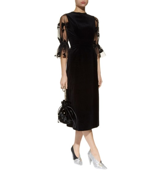 MOTHER OF PEARL Faith Sheer Sleeve Black Dress