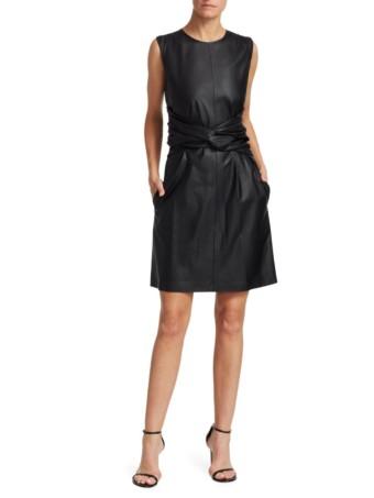 MSGM Twist Waist Sleeveless Black Dress