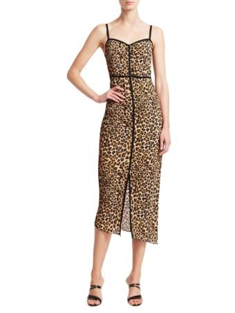 NANUSHKA Asymmetric Leopard Print Ocelot Dress