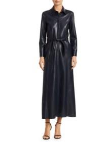 NANUSHKA Taurus Vegan Leather Shirt Navy Dress