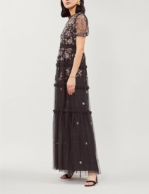 NEEDLE AND THREAD Carnation Embellished Tulle Black Gown