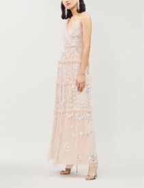 NEEDLE AND THREAD Floral Gloss Embellished Tulle Maxi Rose Dress
