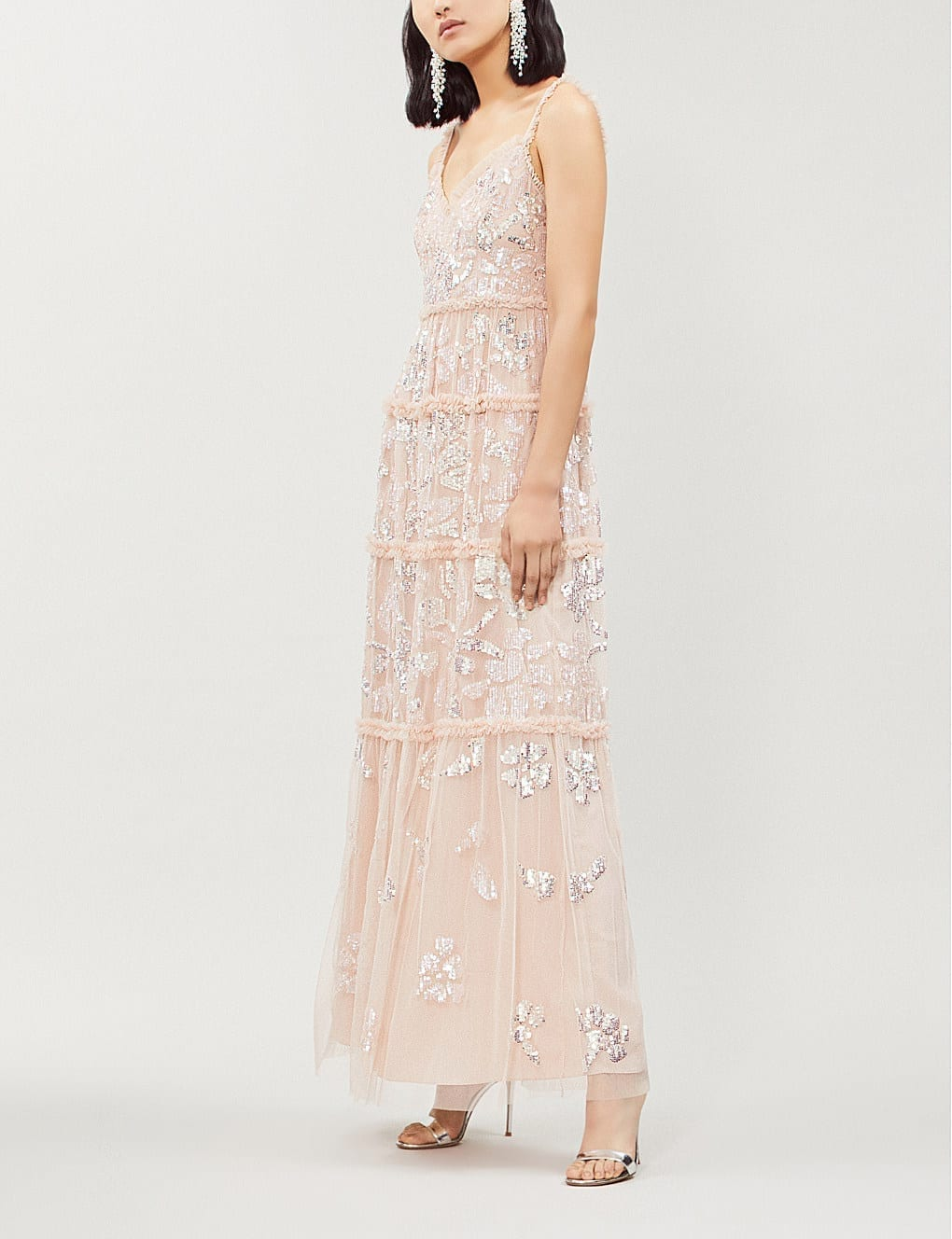 5ecd506618 NEEDLE AND THREAD Floral Gloss Embellished Tulle Maxi Rose Dress