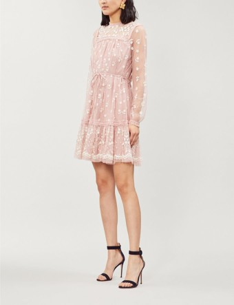 NEEDLE AND THREAD Reflection Ditsy Fit-and-flare Tulle Pink Dress
