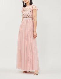NEEDLE AND THREAD Rococo Embroidered Tulle Maxi Pink Dress