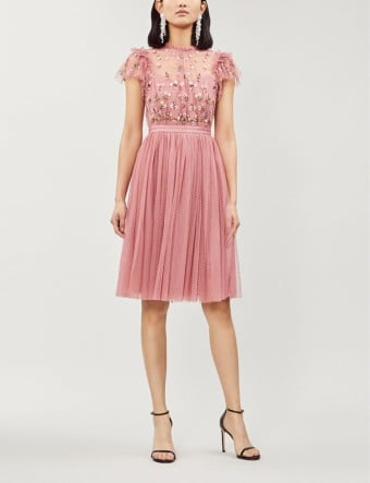 NEEDLE AND THREAD Rococo Embroidered Tulle Pink Dress