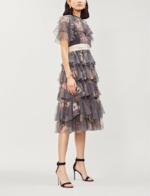 NEEDLE AND THREAD Venetian Rose Tulle Graphite Dress