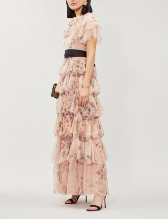 NEEDLE AND THREAD Venetian Tulle Maxi Rose Dress