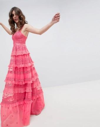 NEEDLE & THREAD Iris Layered Embroidered Cami Maxi Hot Pink Dress