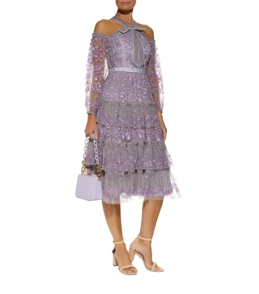 NEEDLE & THREAD Primrose Cold Shoulder Purple Dress