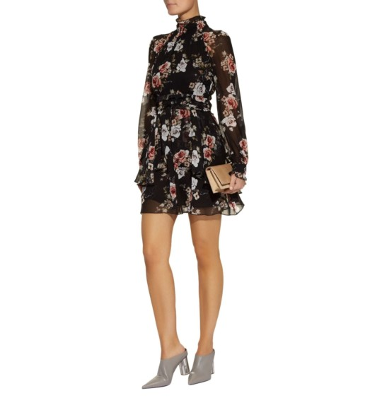 NICHOLAS High Neck Mini Black / Floral Printed Dress