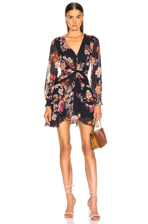 4af62b6c243 NICHOLAS Rust Pintuck Mini Navy   Floral Printed Dress - We Select ...