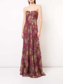 NICOLE MILLER Embroidered Strapless Maxi Burgundy Dress