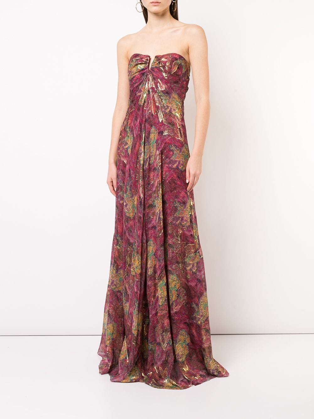 a5406ba399a7 NICOLE MILLER Embroidered Strapless Maxi Burgundy Dress - We Select ...