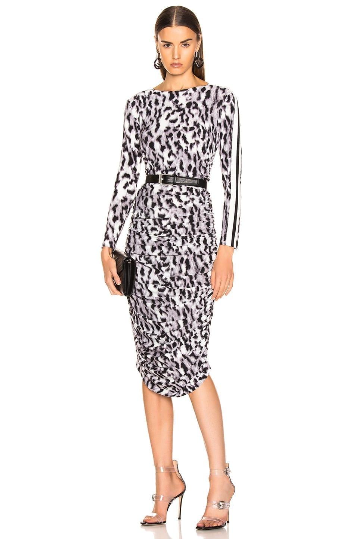 NORMA KAMALI Side Stripe Long Sleeve Shirred White Dress