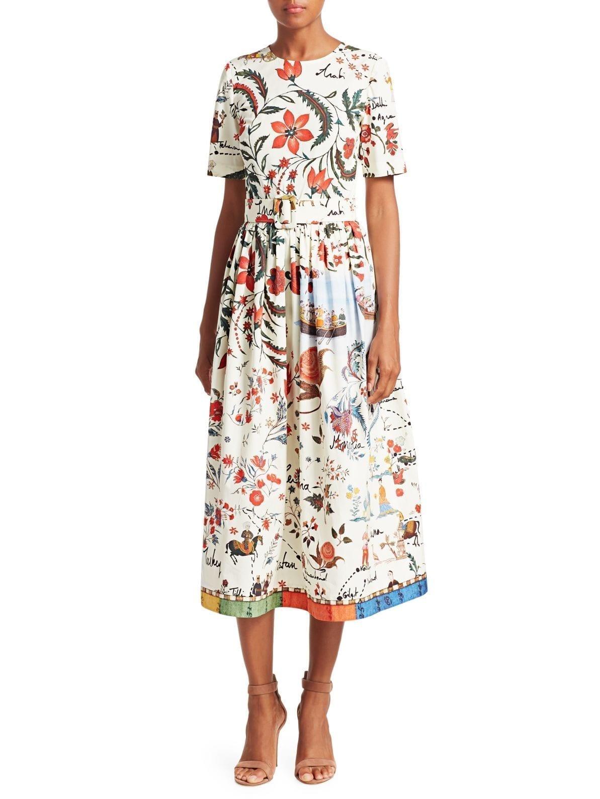 OSCAR DE LA RENTA Belted Midi Flare White / Floral Printed Dress