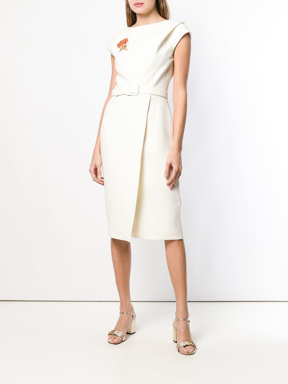 OSCAR DE LA RENTA Belted Midi Ivory Dress