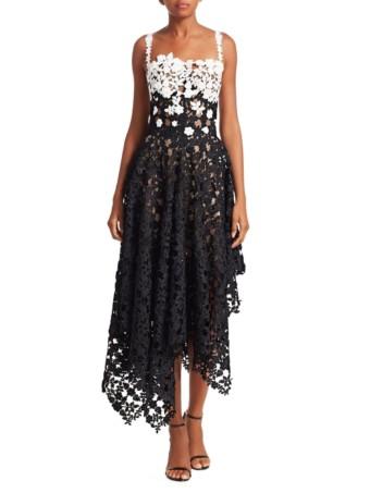 OSCAR DE LA RENTA Colorblock Lace Asymmetric White / Black Dress